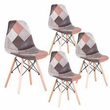 4er Set Esszimmerstühle Wohnzimmer Schlafzimmer Küchenstühlen Patchwork Braun
