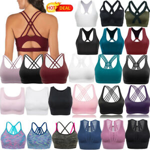 New Women's Strappy Sport Bra Full Coverage Padded Cross Back Yoga Sport Bra Top
