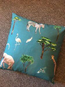 "Two !! SALE £ PRESTIGIOUS  On Safari Fabric 17"" cushion cover Elephant Giraffe 2"