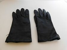 *FOWNES LADIES BLACK LEATHER  WINTER GLOVES ACRYLIC KNIT LINING SIZE 8