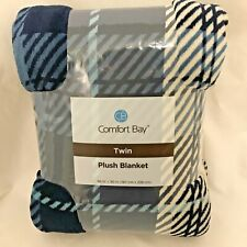 """Plush Blanket Twin Size Throw 66"""" x 90"""" Blue And White Plaid Comfort Bay Soft"""