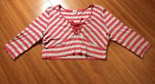 Tommy Hilfiger Jeans Womens Cropped Striped Shirt 3/4 Sleeve Red Gray