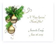 100 Personalized Custom Gold Christmas Bulb Wedding Bridal Thank You Cards
