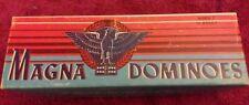 Magna Dominoes 225 1975 Milton Bradley Double Six Set 28 Wood Pieces Complete