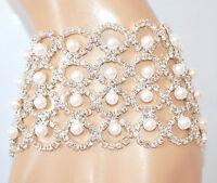 BRACCIALE ARGENTO donna PERLE strass SPOSA cristalli elegante cerimonia E130