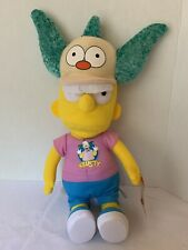 Bart Simpson with Krusty the Clown Shirt & Hat Plush Doll Toy Factory 2018 NWT
