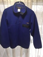 Patagonia Synchilla Men's fleece snap pullover sweater jacket size xs blue black