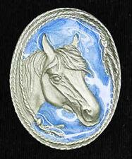 NEW! Western Silver Horsehead with Blue Enamel Bolo Tie