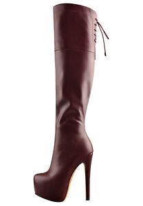 Onlymaker Women's Knee High Boots High Heel Platform Lace-up Zipper Thigh Boots