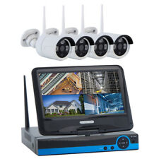 "IP Kamera Set 4CH WiFi Wlan Überwachungskamera Cam HD 720p 1MP 4ways + 10"" TFT"