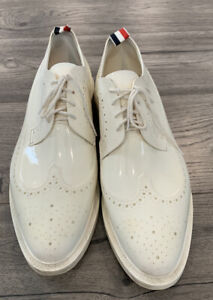 THOM BROWNE Size US 12 EU 45 White Synthetic Jelly Wingtip Shoes Made In Italy