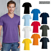 Kariban Men's Short Sleeve V-Neck T-Shirt (K357) - Casual Plain Cotton Tee