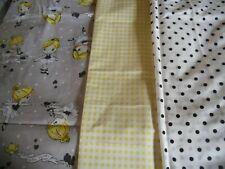 """coupons tissu  enfant  """" petites  danseuses  """"  +  petit vichy jaune + pois noir"""