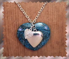 "Blue Genuine Stone Heart Pendant Heart Charms Crystals SP Chain 20"" Necklace"