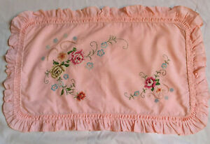 VINTAGE Peach Pink Frilled Pillow Case Cross Stitch Floral Embroidery 12 x 21 in