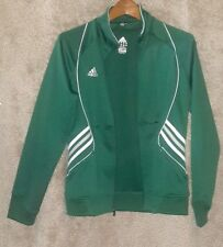 Young mens adidas climate athletic jacket large green white gray, EUC!