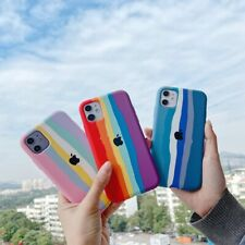 New Hot Striped Rainbow Liquid Silicone Mobile Phone Case For Apple iphone Cover