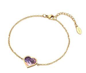 """Gold Plated Titanium Stainless Steel Seashell Heart Love Hand Bracelet 7-8"""""""