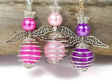 9 DIY Engel Anhänger Bastelset lila pink Drahtperle Engel Anhänger Perlenengel