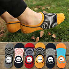 10 Pairs Lot Men Women No Show Liner Socks Small Strip Cotton Silicone Anti Slip