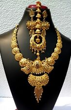 Indian Gold Plated Wedding Designer Bridal Necklace Earrings Tikka Jewelry Set a