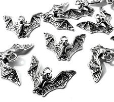 10 x 23 mm Flying Bat Animal Charms Pendentifs, plaqué argent, Halloween, Gothique