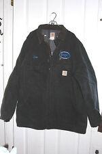 Black Canvas Carhartt Coat 52 Tall Blanket Lined Bluejet Logging Truck On Back
