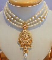 Real pearls pearl studded necklace set 22ct 22k yellow gold Bollywood style ind