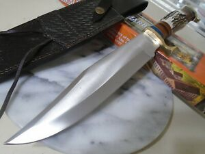 """Marbles Stag Bowie Hunter Fixed Blade Knife Full Tang Leather Sheath MR589 15"""""""
