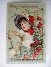"""Victorian 1885 Trade Card for """"McCormick Harvesting Machine"""" w/ Lovely Lady *"""