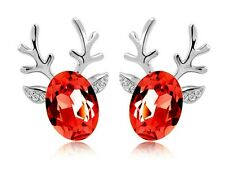 Lusso Alce Design Argento E Rosso Orecchini A Perno Ottima come Natale E486