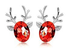 Luxury Deer Design Silver Winter Red Stud Earrings Great as Christmas Gift E486