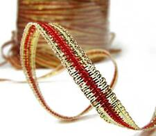 """5 Yds Christmas Red Metallic Gold Narrow Wired Ribbon 1/4""""W"""