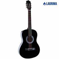 "Lagrima 38"" Acoustic Guitar w/Guitar Case,Strap,Tuner,Pick,Steel Strings Black"