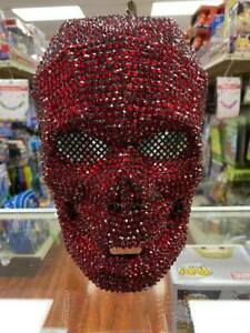 All RED Rhinestones Fancy Halloween Day of the Dead Skull Masquerade Mask