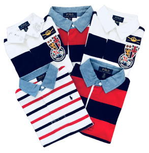 Ralph Lauren Toddler Kids Boys Embroidered Logo Striped Polo Shirts 2y-20y