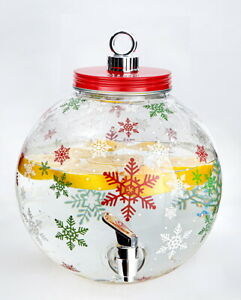 Winter Ornament Beverage Drink Dispenser Snowflakes Christmas Party Pitcher