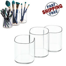 Beauty Supply Storage Makeup Brush Holder Trio Cup Vanity Organizer Display Box