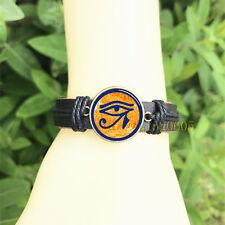 20 mm Glass Cabochon Leather Charm Bracelet Eye of Ra - Egyptian Sun God Symbol