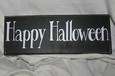 KOHLS WHITE BLACK HAPPY HALLOWEEN WOODEN RUSTIC BOX SIGN DECORATION SHELF