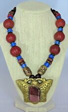 Statement Necklace OOAK Huge Nepalese Pendant Agate Glass House JEIQUE lagenlook