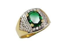 SUPERB 4.5 Carat Emerald Color CZ Ring Sz 10.5 Thai 22K 24K Gold gp Jewelry GT21