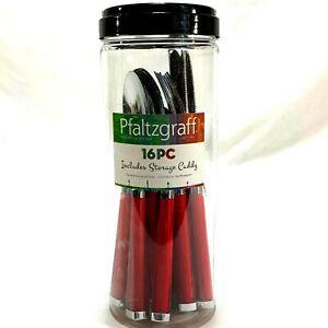 Pfaltzgraff Silverware 16 Pc Premium Stainless Steel Red Handle