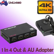 4K UHD 1*4 HDMI Splitter 1 In 4 Out 3D 4 Way HDMI Signal Distributor Splitter AU