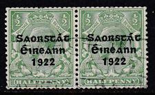 Eire Ireland 1922-23 Used FU Definitive King George V 1/2d Overprinted Pair