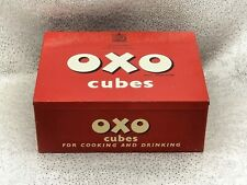 More details for vintage oxo cubes tin-red and white- c.1950s