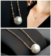 Plated Single Pearl Pendant Necklace New Trendy Fashion Women Gold