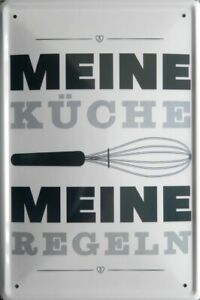 Blechschild, 20 x 30 cm, Meine Küche, Meine Regeln, Koch, Restaurant, Neu, OVP