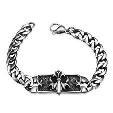 Stainless Steel Bracelet Fleur De Lis Cuban Silver Lobster Clasp L410