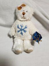 "Tiny 4"" plush teddy bear Christmas Ornament white snowflake sweater"